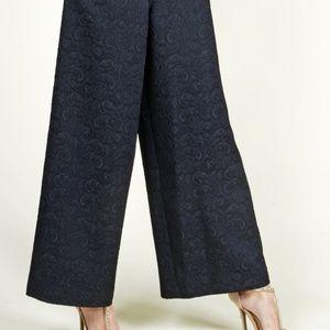 NWT Eva Franco Black Jeunie Jacquard Trousers - 8
